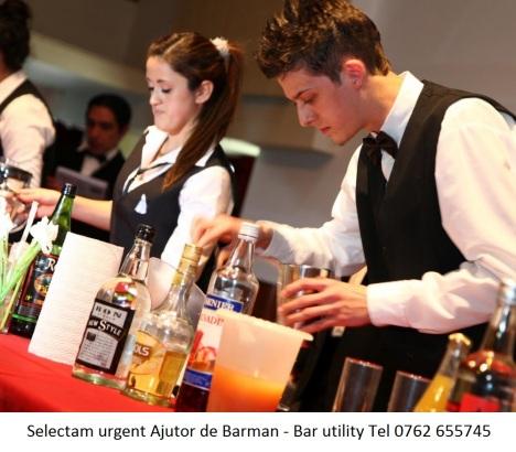 Selectam urgent Ajutor de Barman - Bar utility Tel 0762 655745